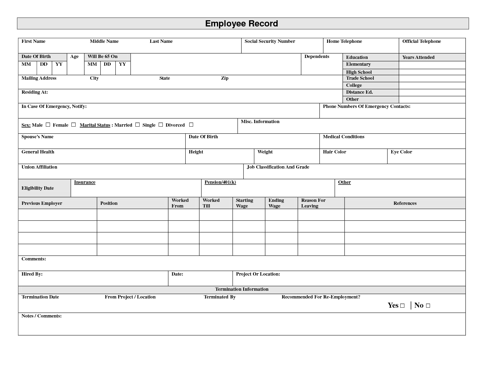 Sometimes Medical Your My A Records Free Someone Records A. Employment ...  Employee Information Form Sample