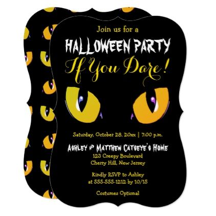 Creepy yellow cat eyes halloween party if you dare card halloween creepy yellow cat eyes halloween party if you dare card halloween happyhalloween stopboris Images