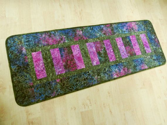 Quilted Fuchsia Olive Blue Batik Table Runner 467 by QuiltinWaYnE