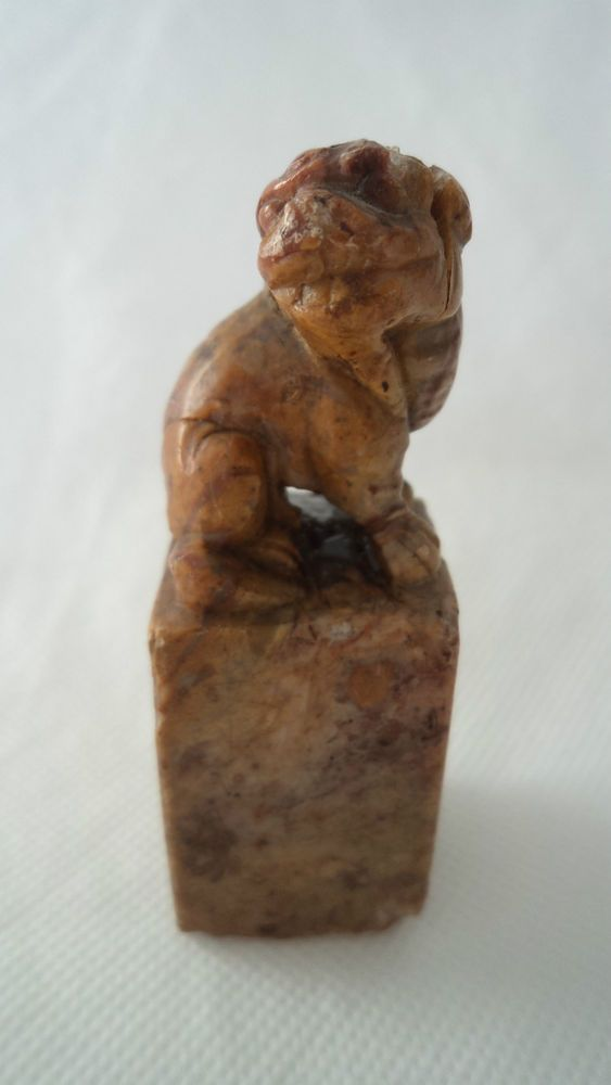 ANTIQUE CHINESE 19TH CENTURY HARDSTONE FIGURAL FOO DOG LETTER SEAL