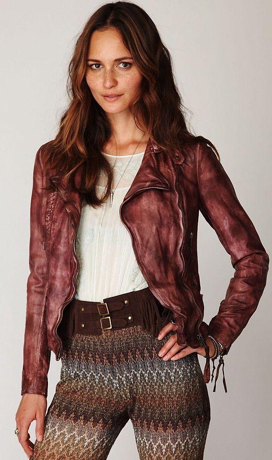 Muubaa Vintage Wine Leather Biker Jacket Jackets Galore Jackets