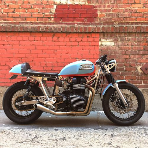 caferacersofinstagram: Gulf racing livery theme on this solid...  caferacersofinstagram:  Gulf racing livery theme on this solid Triumph Thruxton built by @ba_moto in Southern California. Thanks for sharing!  #croig #caferacersofinstagram