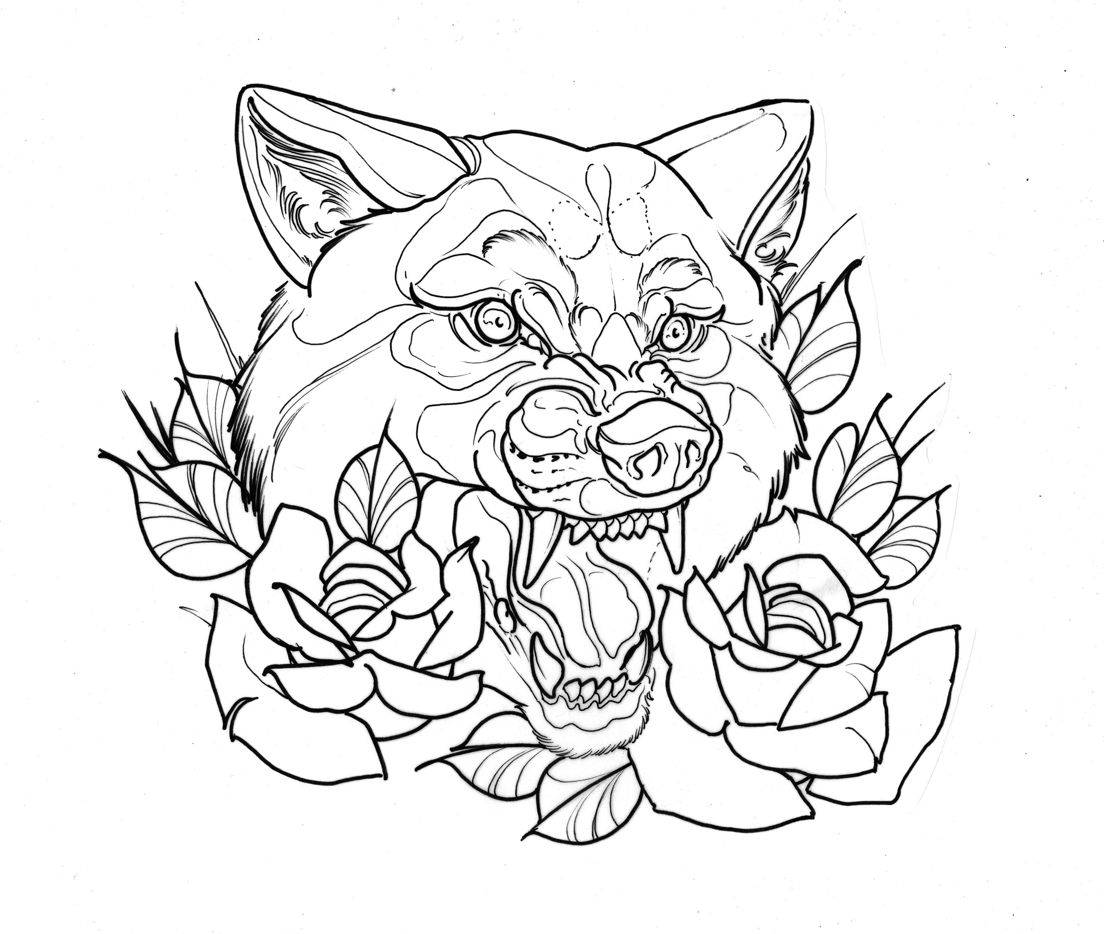 Wolf Head Tattoo With Flowers Rose Sketch Design Wolf Tattoo Traditional Wolf Girl Tattoos Head Tattoos