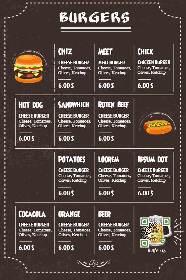burger menu template click to customize menu templates