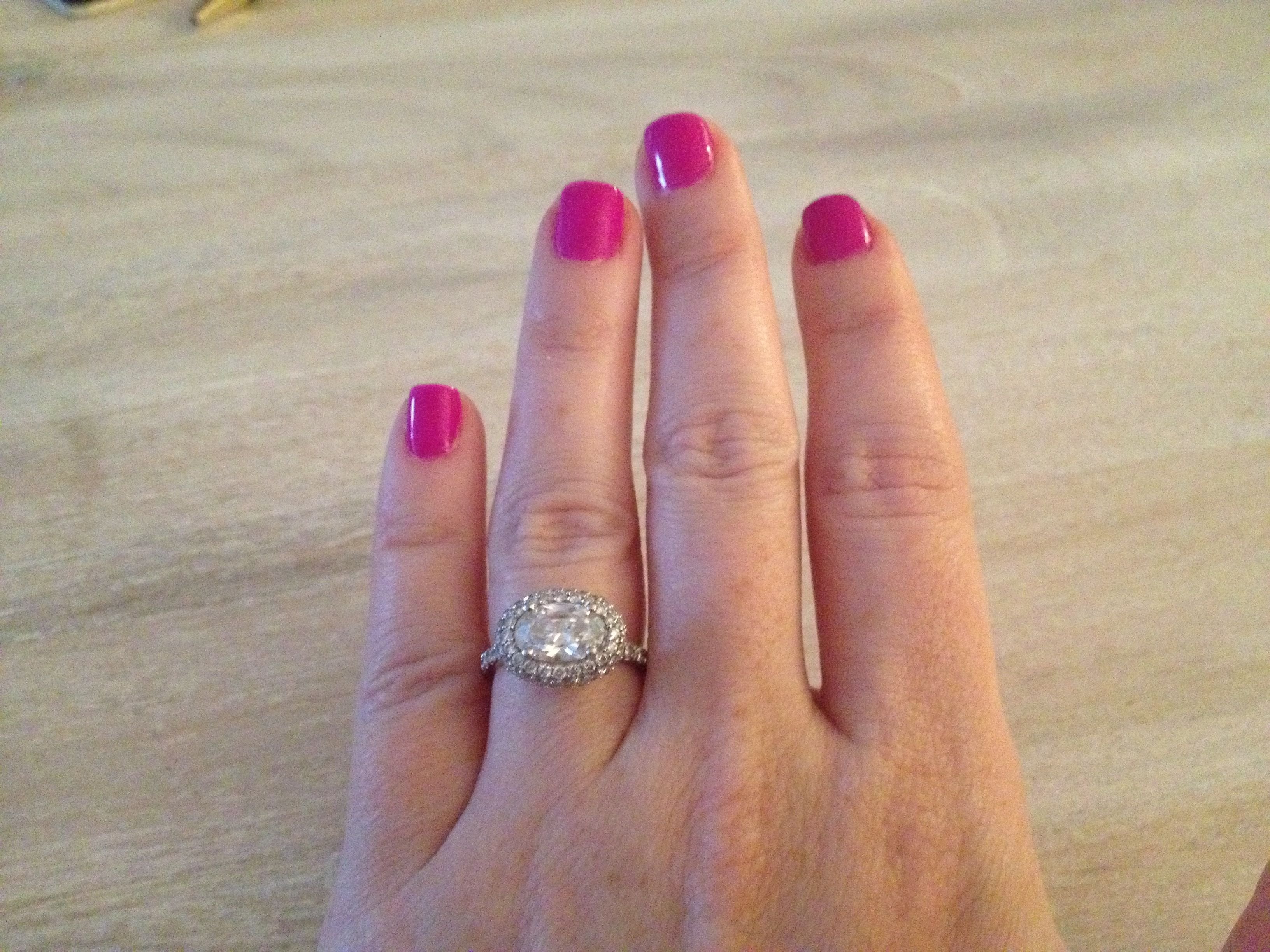My oval engagement ring set east west Wedding