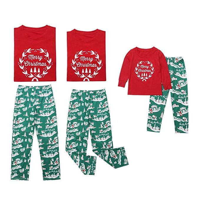 Merry Christmas Family Matching Pajamas Sets Top Santa Claus Tree Pant  Christmas Pj for Family (Kids Only b680da396