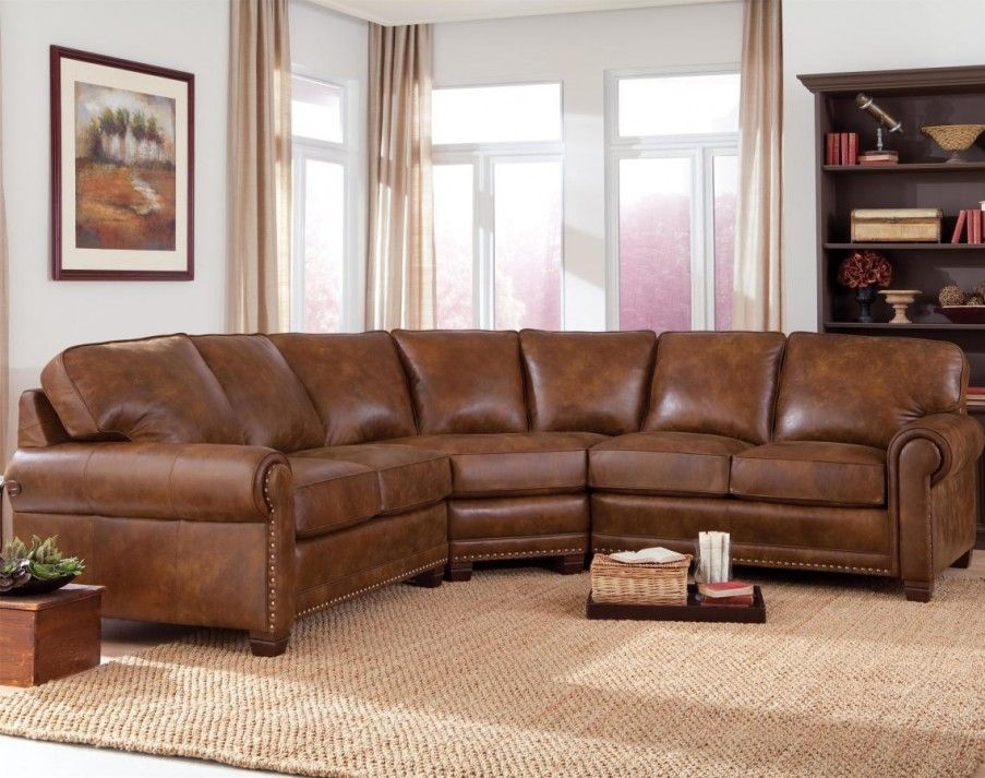Classic Style Dark Brown L Shaped Leather Comfy Couches With Seven