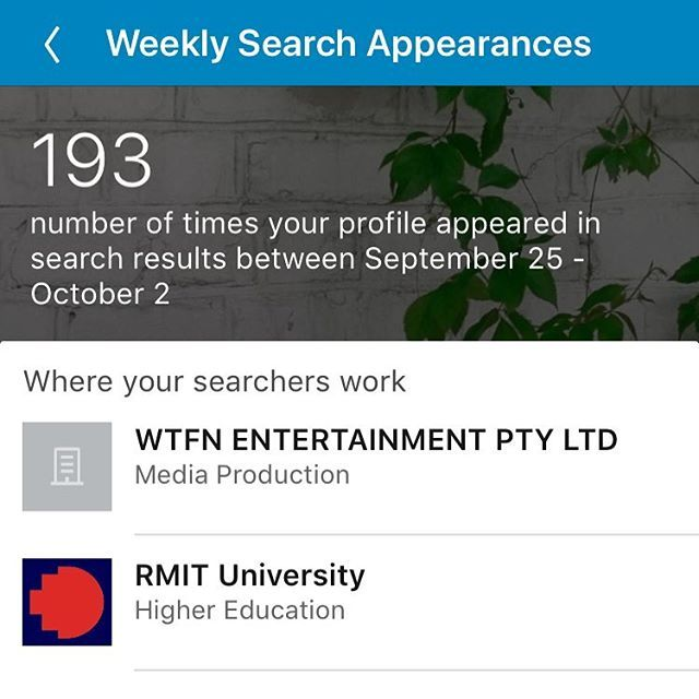 Do you check your weekly LinkedIn search appearances? You