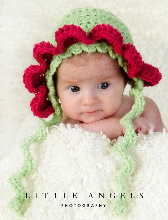 Baby Flower Bonnet Crochet Pattern by SunsetCrochet | Needlecrafts ...