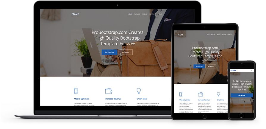Frame: Free Onepage HTML5 Template Using Bootstrap | Webデザイン ...