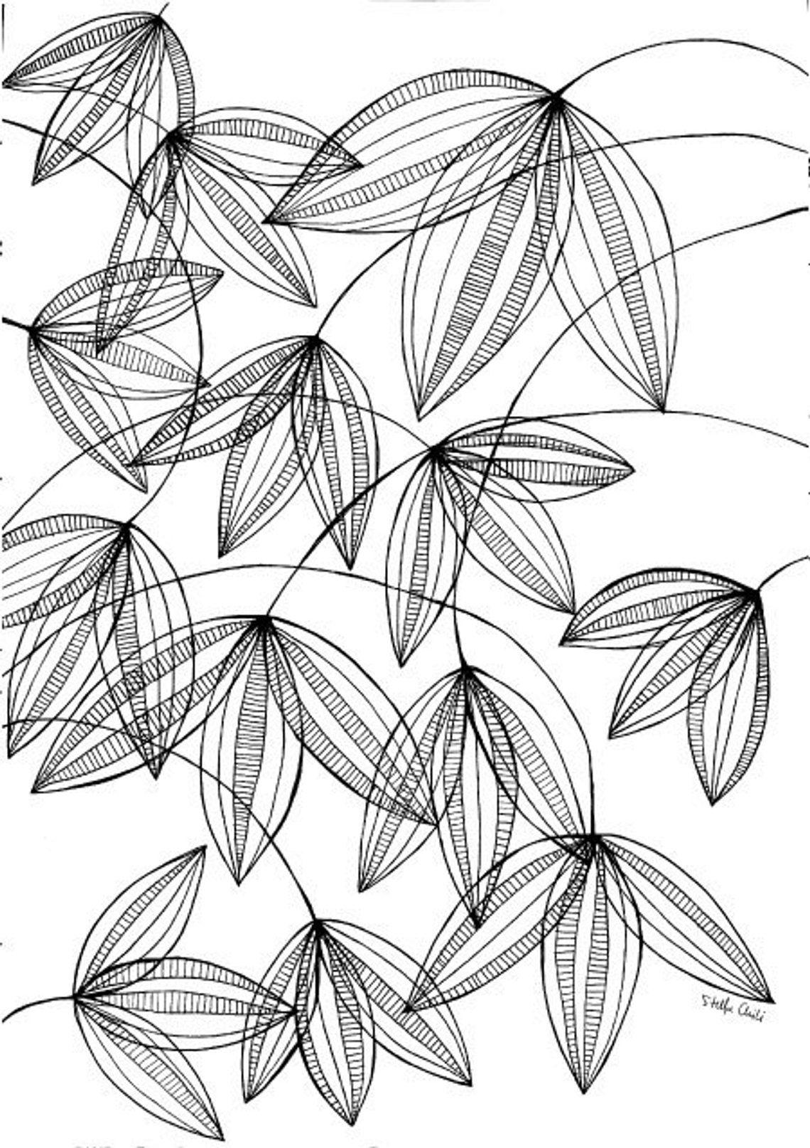 illustration de la plante art impression stylo noir et