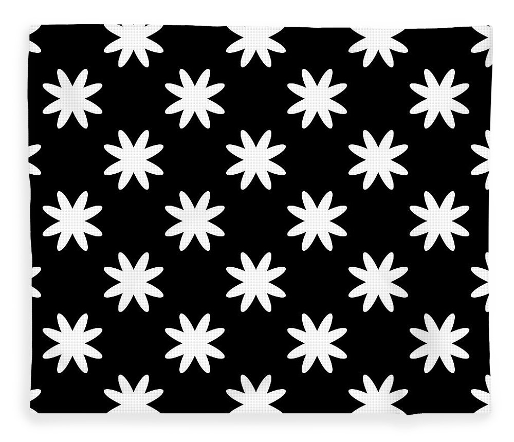 White and Black Pattern Fleece Blanket for Sale by Black