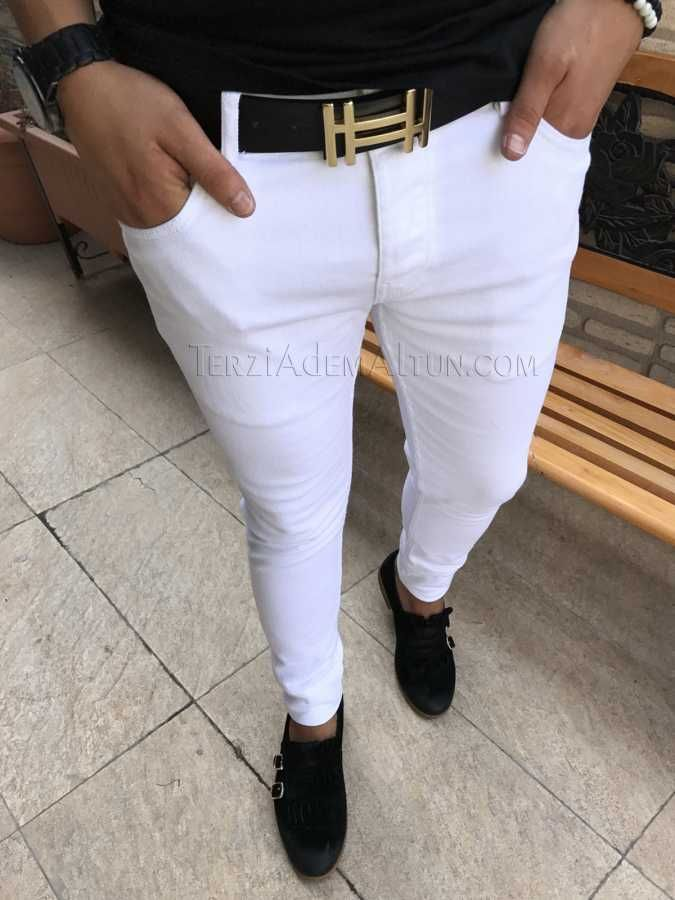 Italyan Style Slim Fit Likrali Beyaz Erkek Pantolon T1720 Mens Pants Fashion Mens Fashion Chinos Mens Outfits