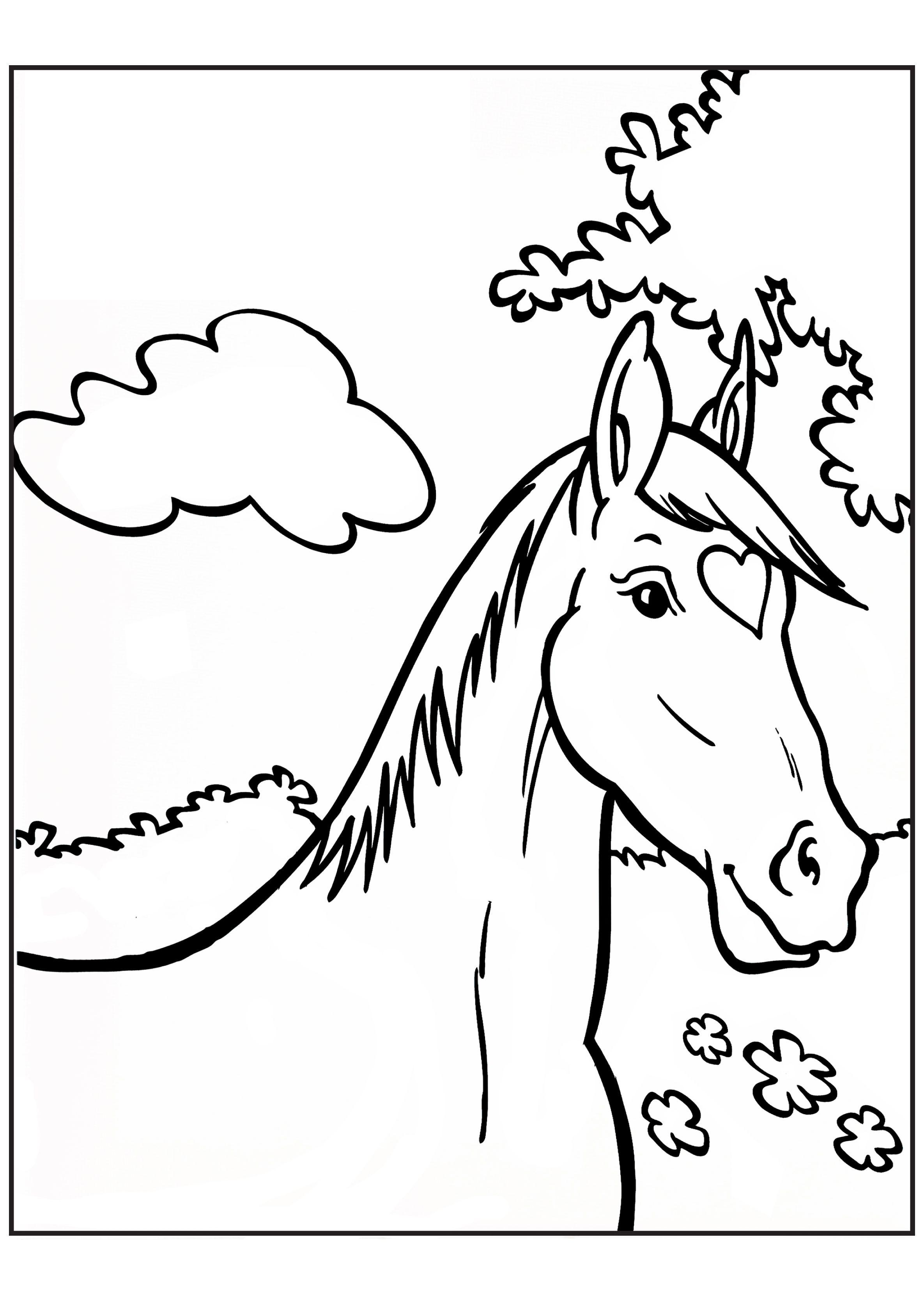 kleurplaat paard free prints