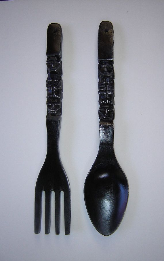 May Paint Mine Black Large Carved Wood Fork And Spoon Wall Art Wooden Wall Decor Wooden Walls Forks And Spoons