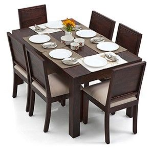 Arabia Oribi 6 Seat Dining Table Set Mahogany Finish Wooden