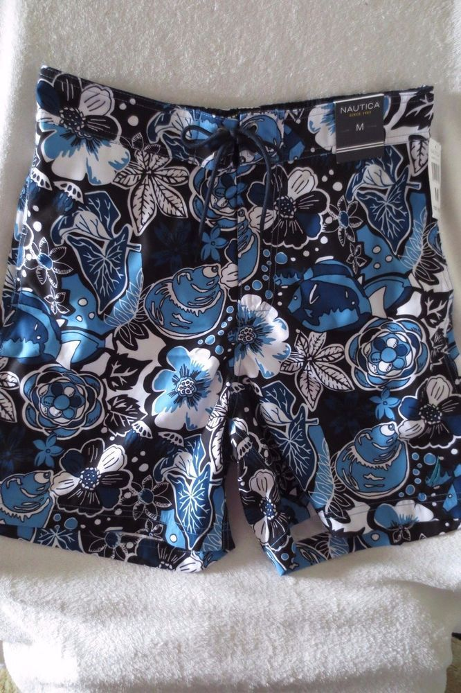 Nautica Men Swim Short Size M Color Blue  Multi  Floral Print  NWT #Nautica #Trunks