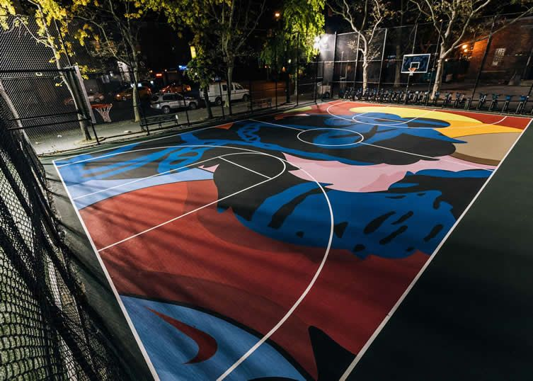 Kaws holds court on New York's Lower East Side with a slam-dunkin' new public art project...
