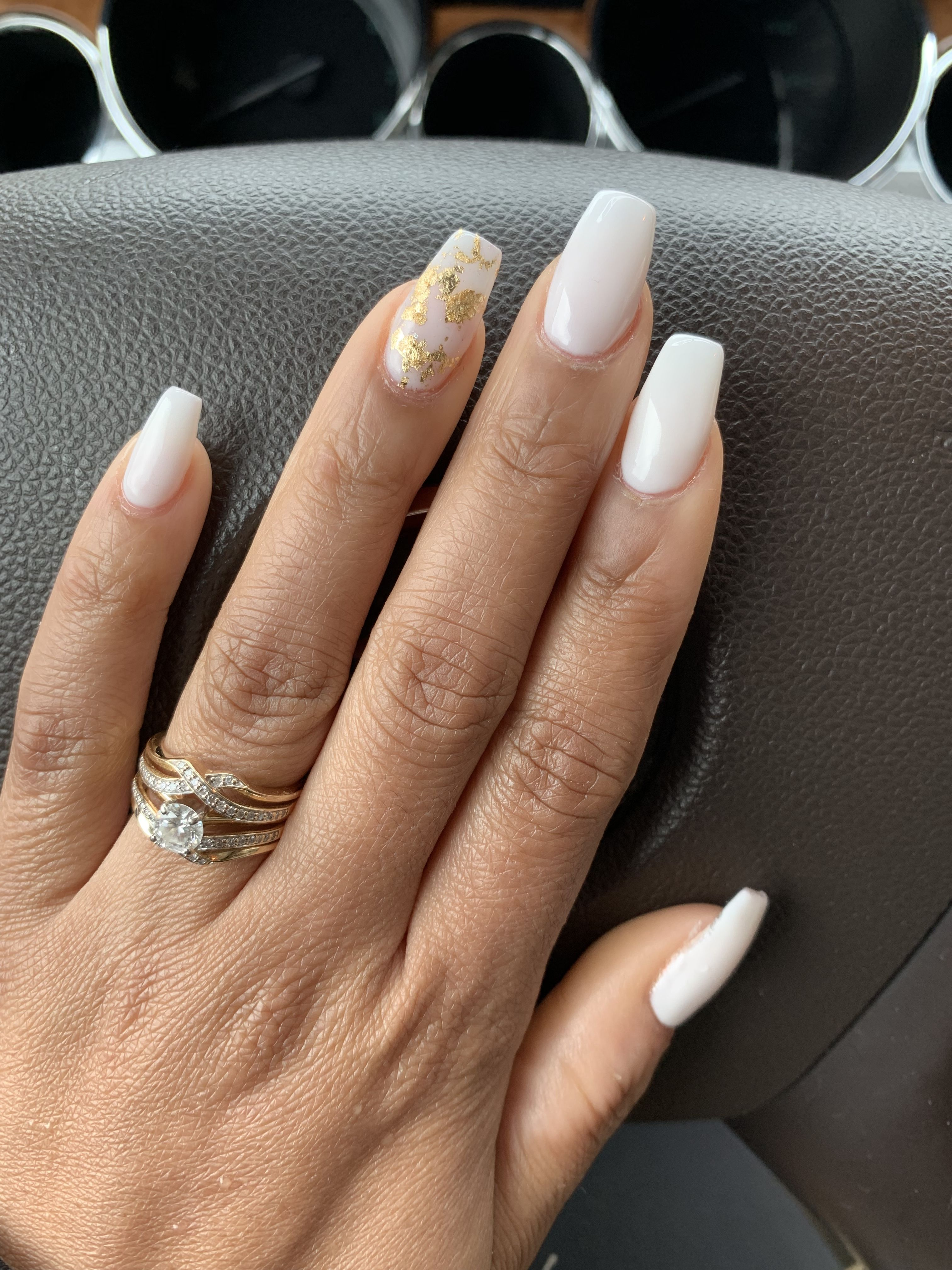 Soft White Acrylic With Gold Flakes Perfect For Spring And Summer Acrylicoverlay Naturalnails Su In 2020 White Nails With Gold Gold Nails Prom Gold Acrylic Nails