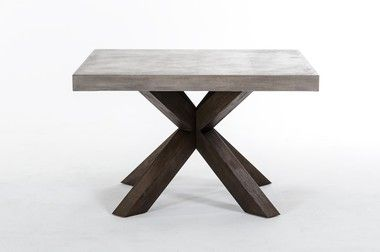 Modrest Grey Concrete Acacia Base Square Dining Table
