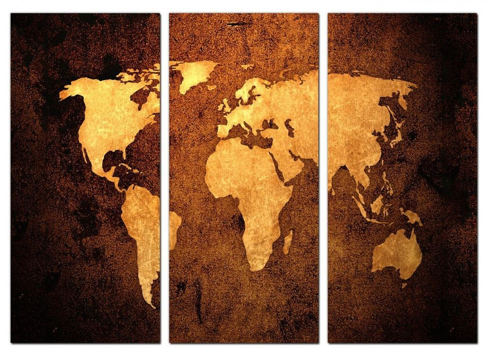 Canvas wall art vintage world map leather effect 3 panel hanging canvas wall art vintage world map leather effect 3 panel hanging print picture gumiabroncs Images