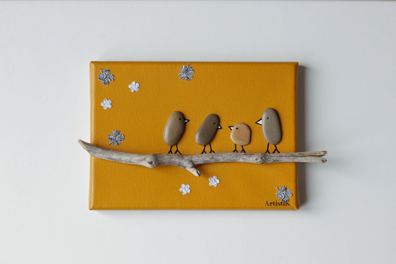 Tableau bois flott galets tableau oiseaux galets for Decoration bois flotte galet