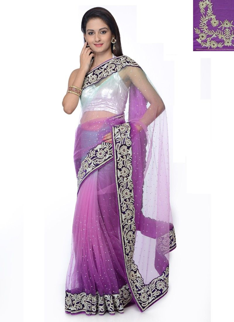 Light purple and off white color wedding wear saree product code