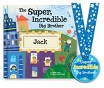 """The perfect gift for a new big brother! The Super, Incredible Big Brother book from I See Me! comes personalized with big brother's name and the name of the new baby. The book reassures big brother that he is loved and appreciated... and it rewards him for helping out and being a """"super star"""" with his new sibling. It comes with a coordinating Super Incredible Big Brother award medal with a place on the back to write the proud big brother's name! Written by award-winning children's author…"""