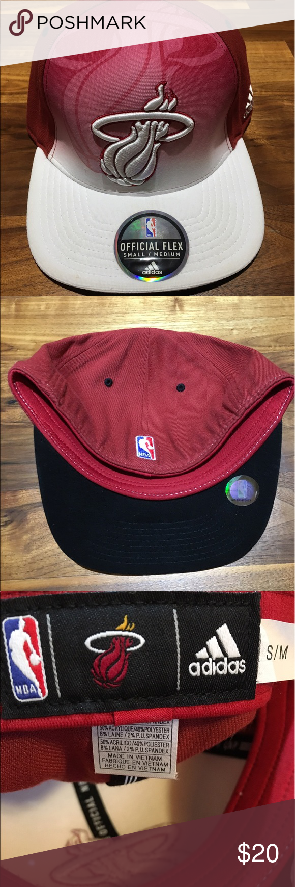dd8ef634 Miami Heat Adidas NBA Draft Hat Miami Heat Mens Adidas ClimaLite NBA Draft  Baseball Hat. Brand New. Size Small/Medium. Flexfit. Adidas Accessories Hats