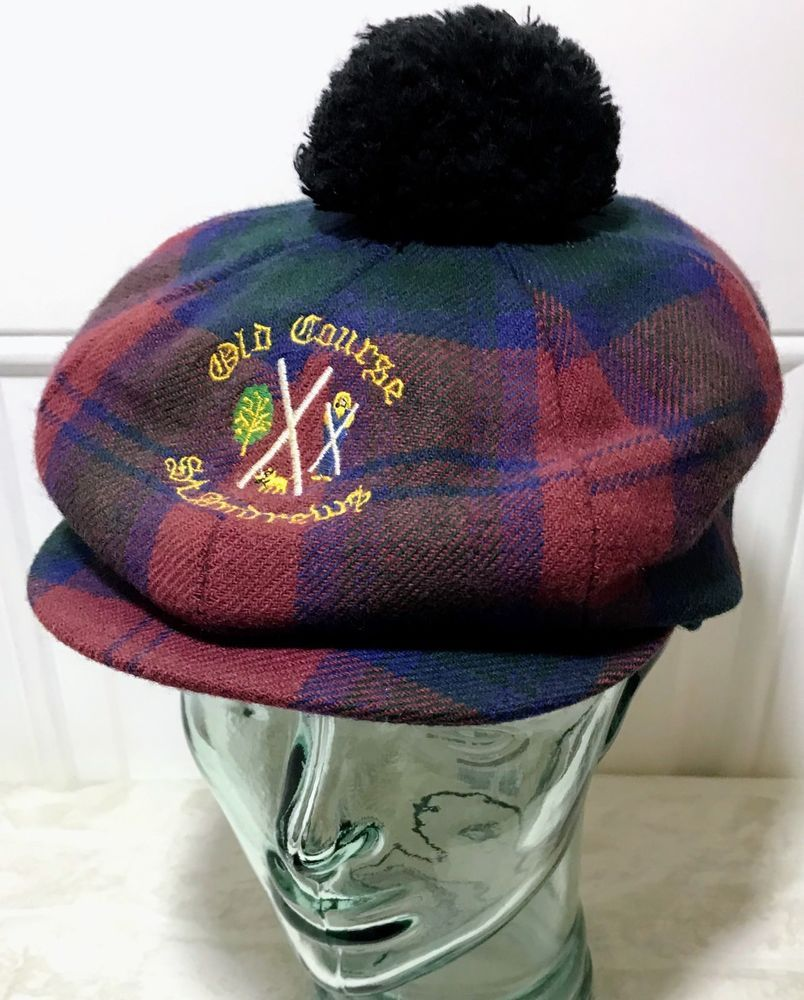 aca39c29a37 Vtg Kangol Tam Hat Tartan Newsboy Golf Old Course St Andrews Scottish Cap  Pom  Kangol  NewsboyCap  scotland  golf  tartan