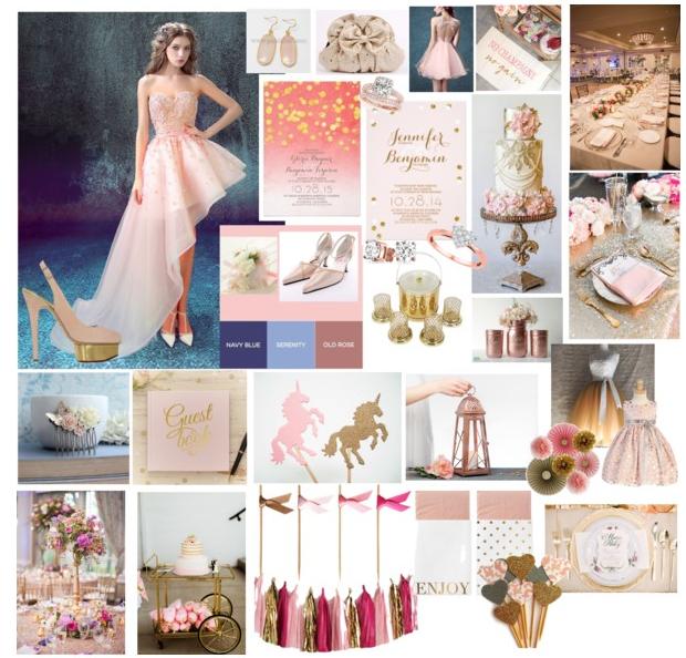 Pink, Gold Wedding, Wedding Colors