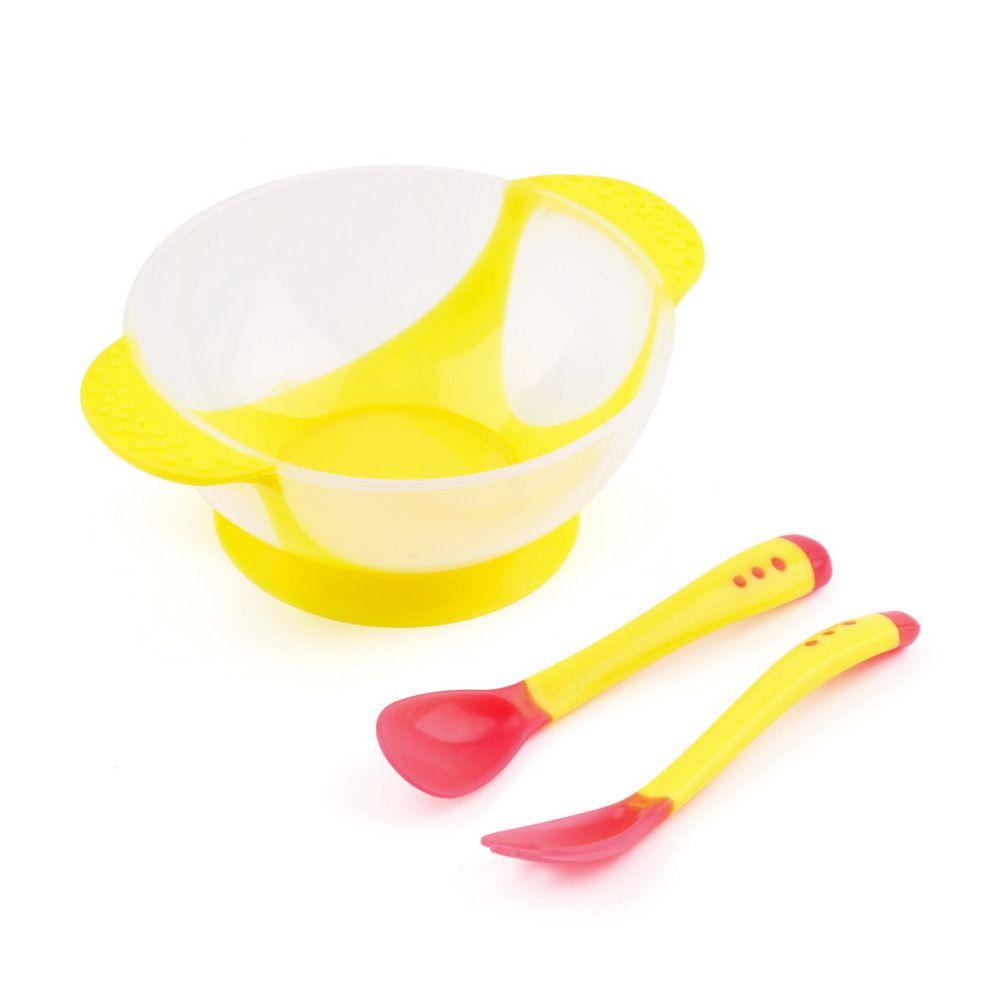 Yellow Set Temperature Sensing Cutlery Set Baby Toddler Feeding Weaning Spoon