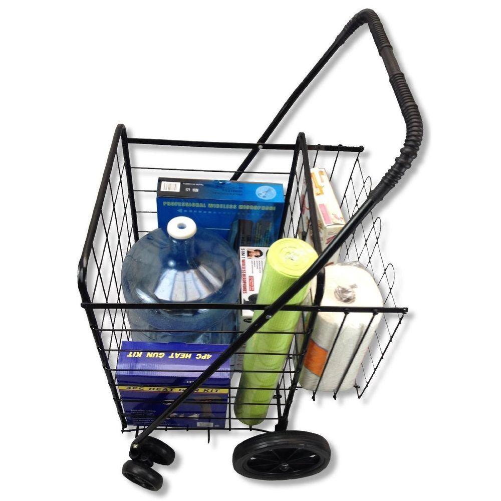 Grocery Cart Folding On Wheels For Seniors Shopping Home Utility