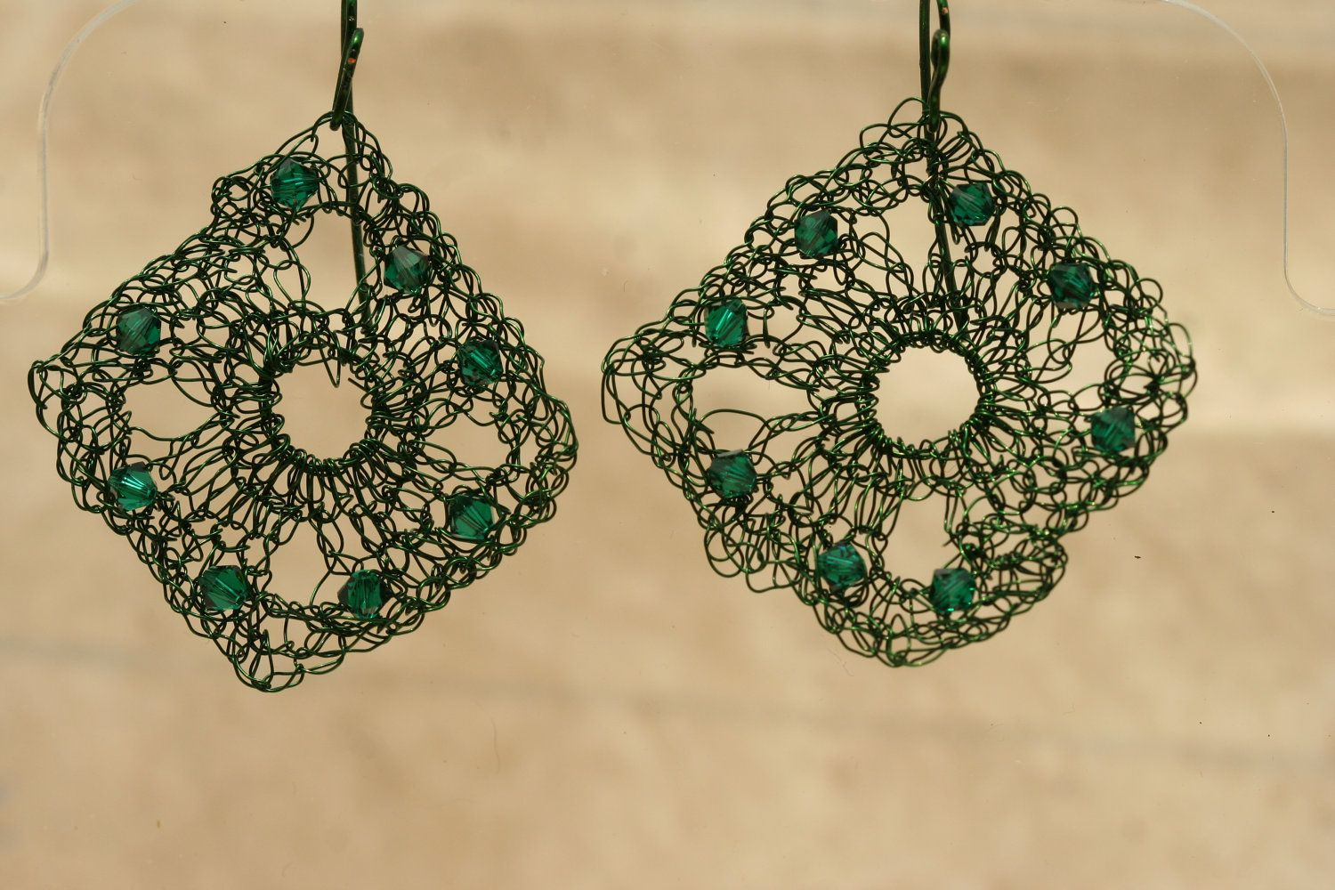 Green Crocheted Wire Earrings With Swarovski by lesleypridgen