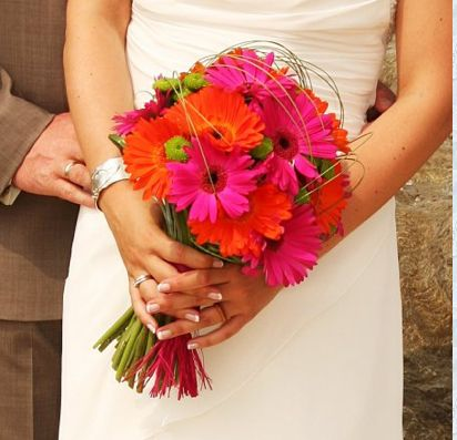 #gerbera daisy wedding Orange and hot pink gerbera bouquet