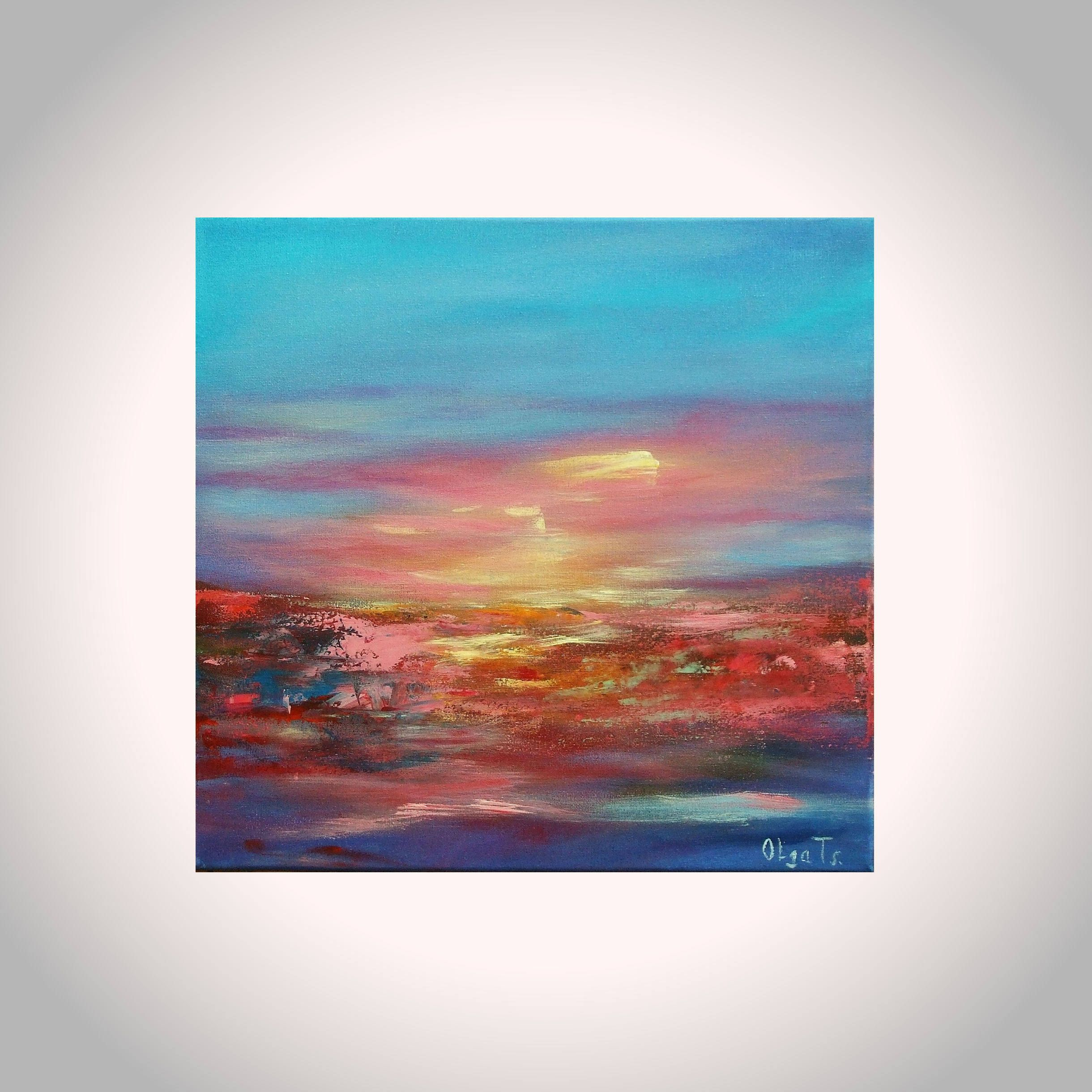 Fine Painting Office Decor New House Gift For Wife Blue Pink Abstract Artwork Sister Gifts Sky