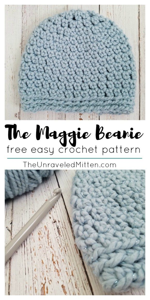 The Maggie Beanie: Free Easy Crochet Pattern | Pinterest | La ...