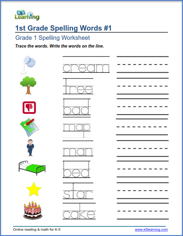 Grade 1 Spelling Worksheets Trace And Write Words K5 Learning