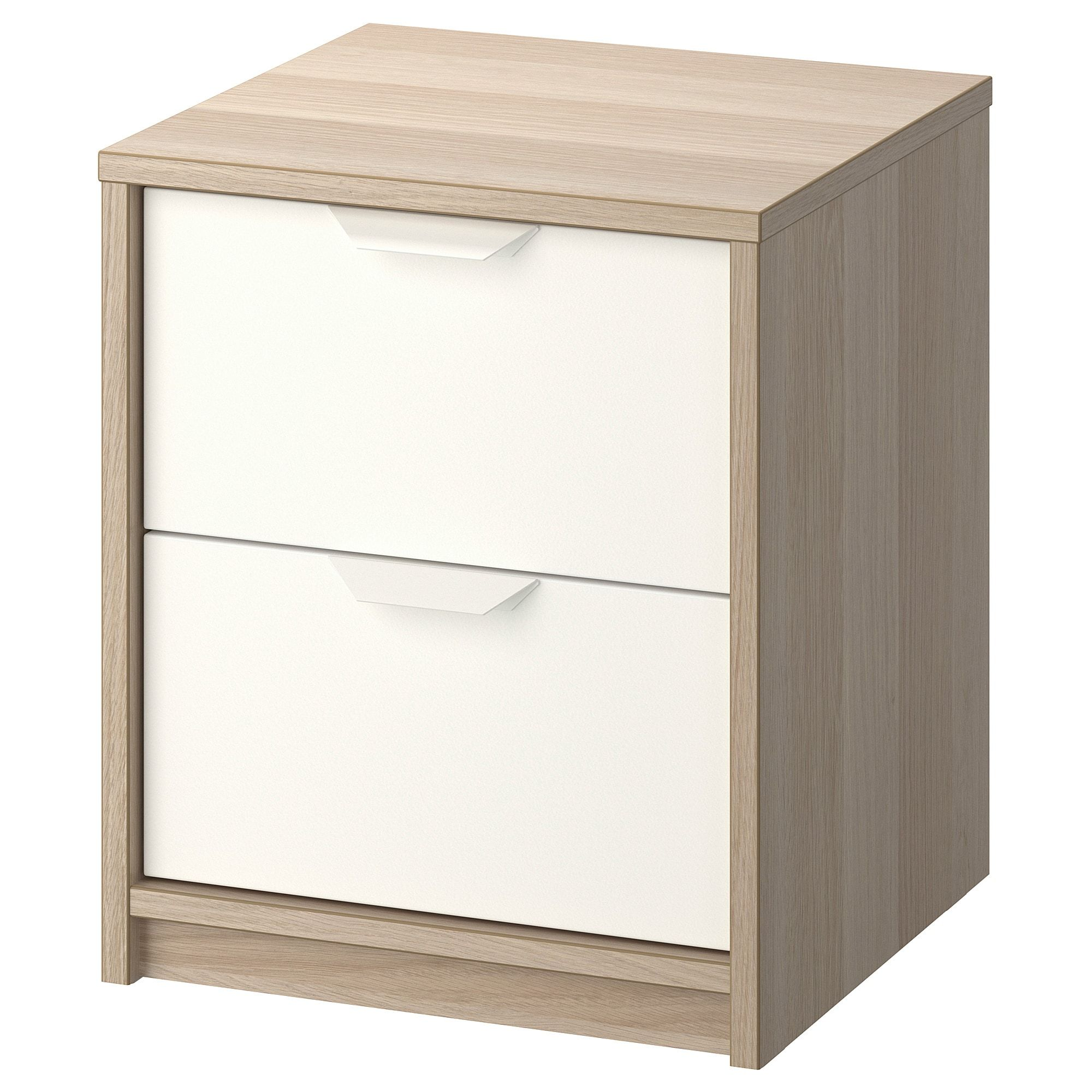 Ikea Askvoll White Stained Oak Effect White 2 Drawer Chest Askvoll Chest Of Drawers Storage Furniture