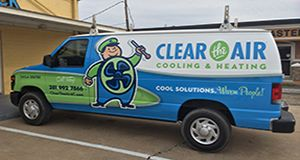 Full vehicle wrap for Clear the Air A/C in Friendswood