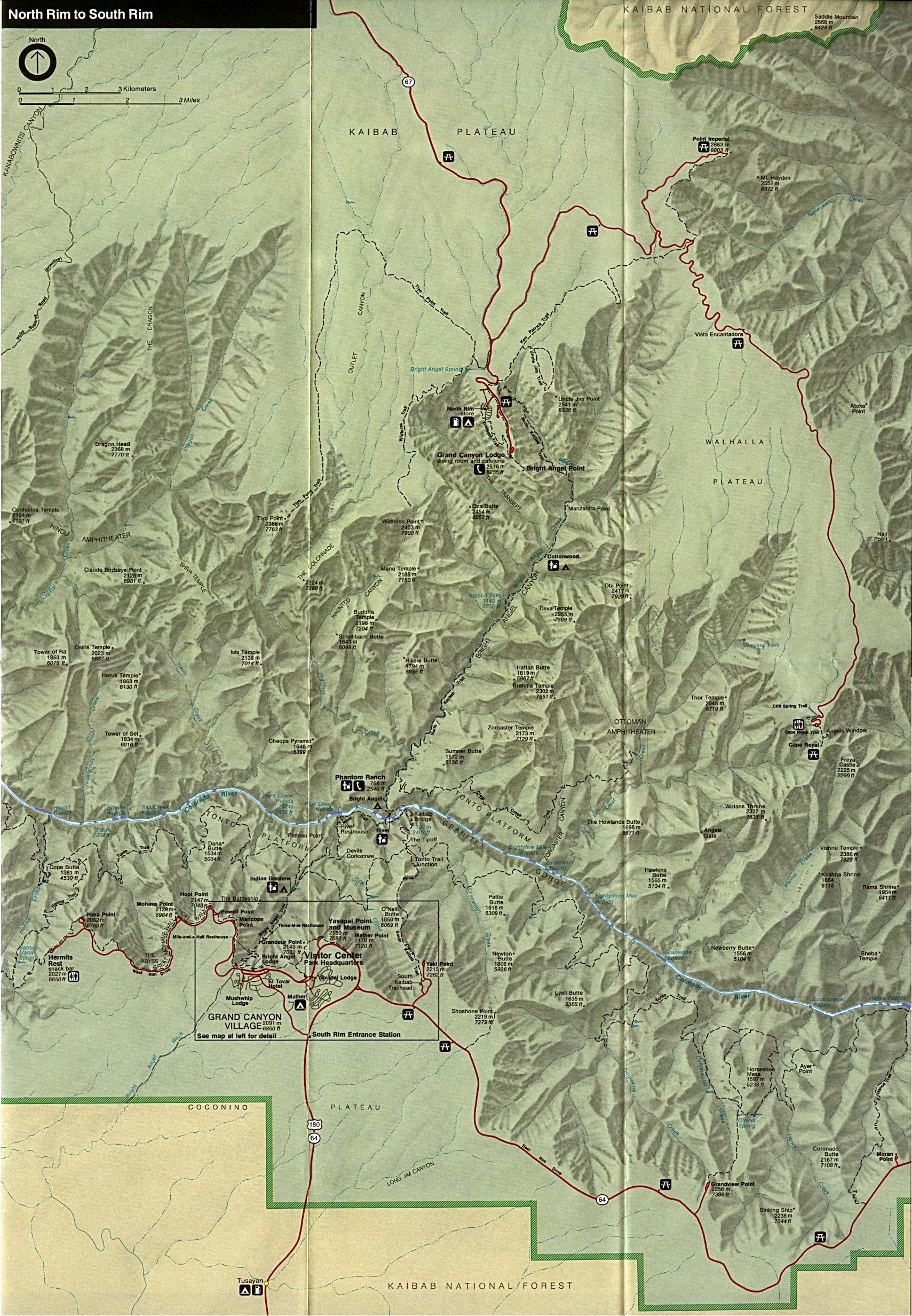 Grand Canyon National Park Map - Grand Canyon National Park ...