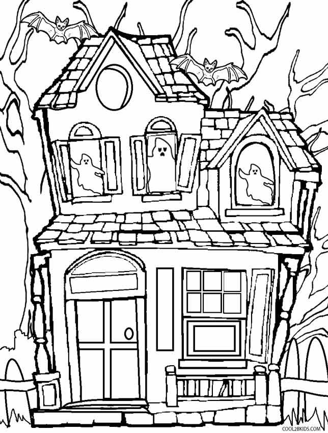 Haunted House Coloring Page : haunted, house, coloring, Printable, Haunted, House, Coloring, Pages, Cool2bKids, Colouring, Pages,, Halloween
