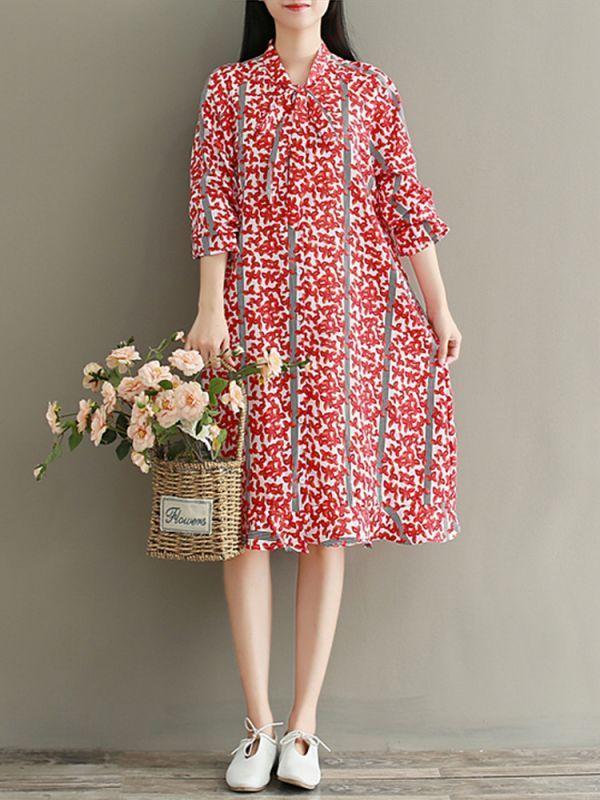 Mori girl vintage long sleeve floral printed bow tie ruffle hem ...