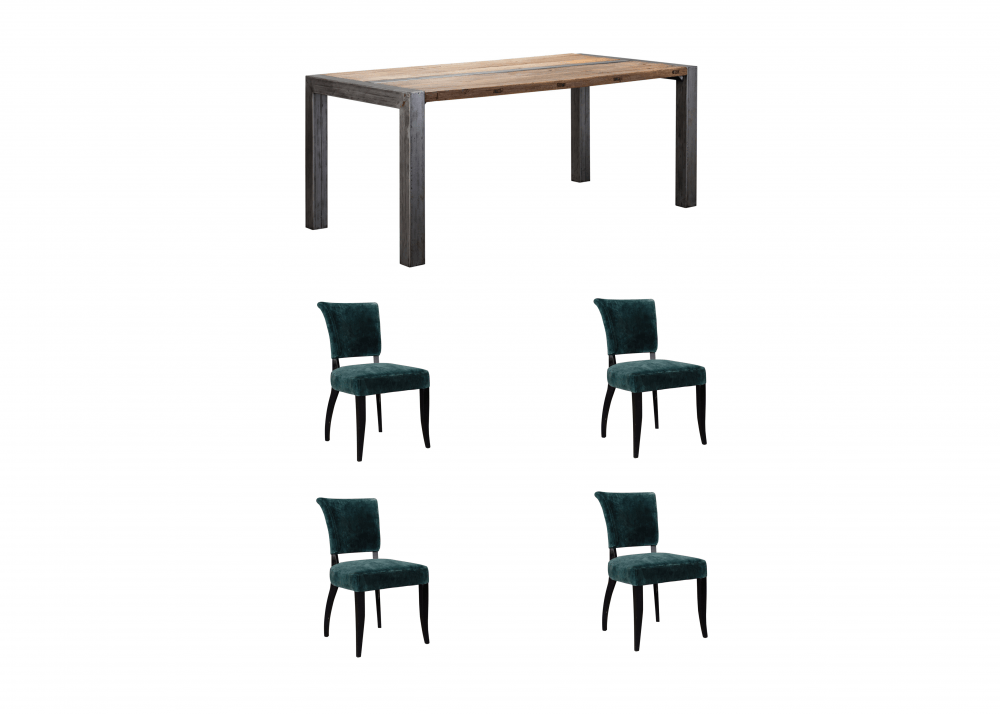 Remarkable Halo Foundry Dining Table 4 Mimi Moleskin Dining Chairs Pabps2019 Chair Design Images Pabps2019Com