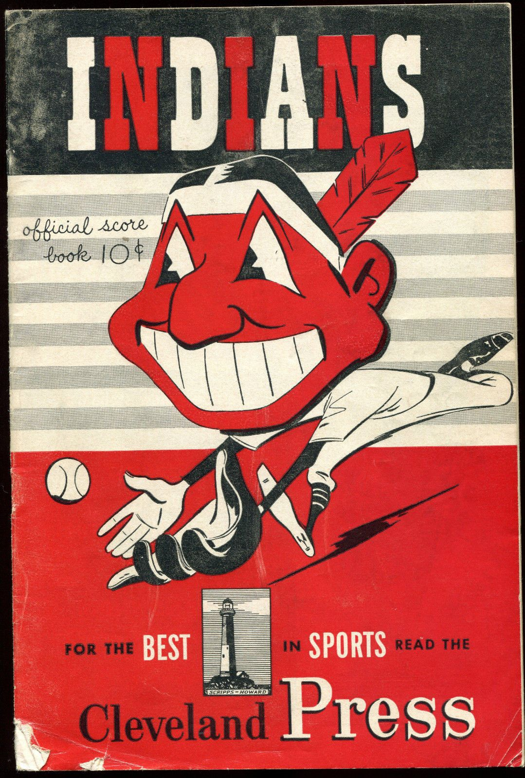 1950 Vintage Cleveland Indians Program Score Card