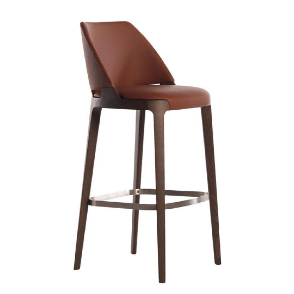 Leather Barstool With Footrest Velis Barstool By Potocco Bar Stools Kitchen Bar Design Designer Bar Stools