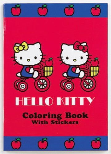Hello Kitty Coloring Book Red Stickers With Apple Design