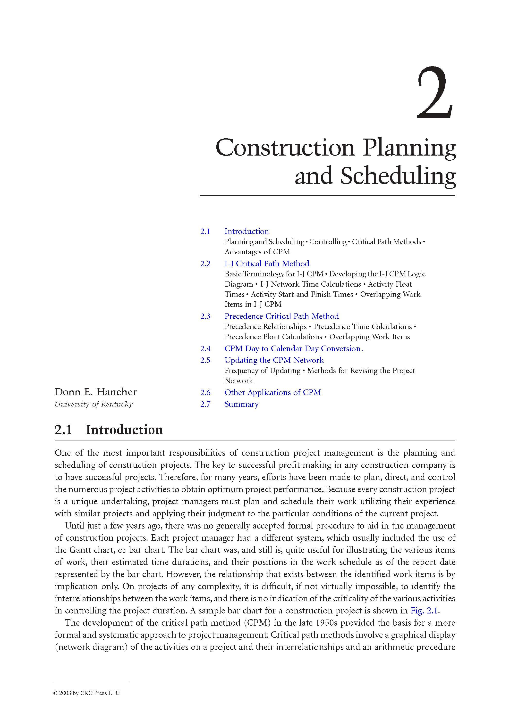Construction Planning And Scheduling I J Critical Path
