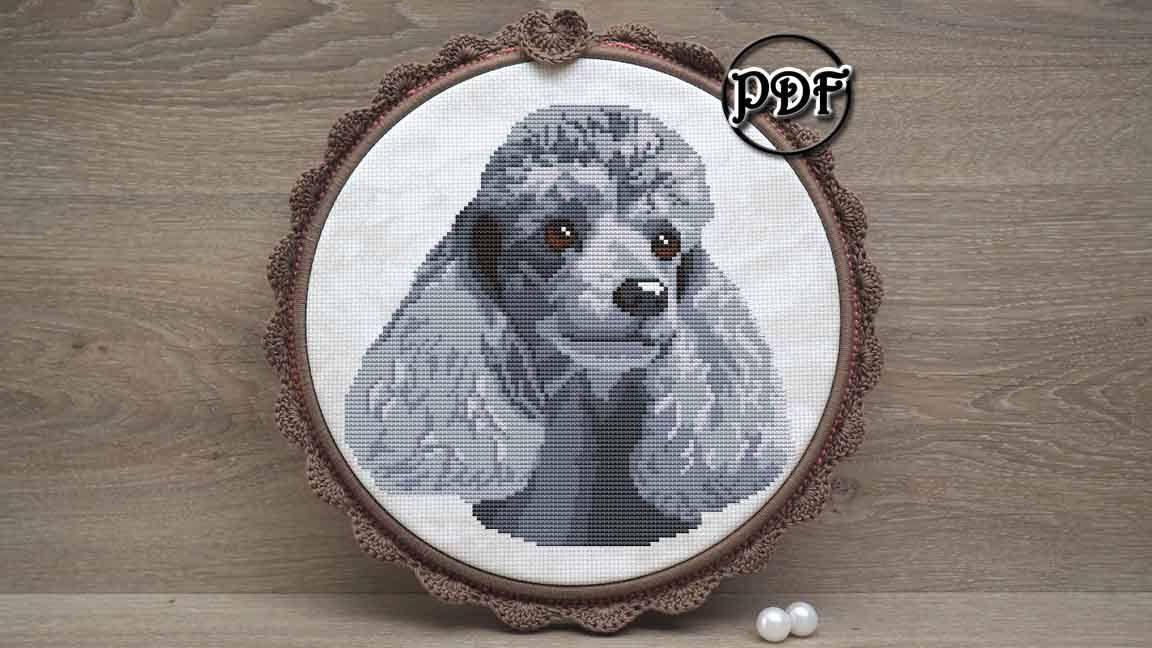Silver Poodle cross stitch pattern pdf - Poodle embroidery design ...