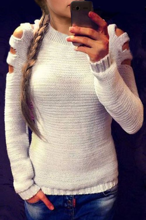 c59cee79eee58d Cut Out Round Neck Long Sleeves Jumper | Clothes | White knit ...